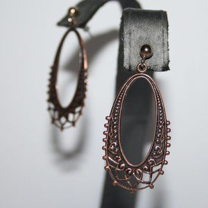 Beautiful copper dangle post earrings